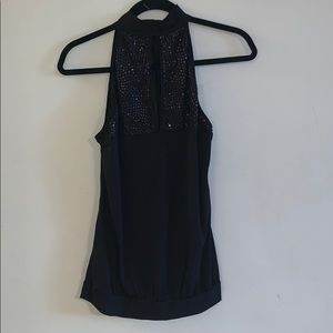 Black halter top with sequins